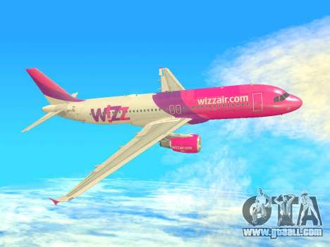 Airbus A320-200 WizzAir for GTA San Andreas bottom view