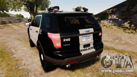 Ford Explorer 2013 LCPD [ELS] Black and Gray for GTA 4 back left view