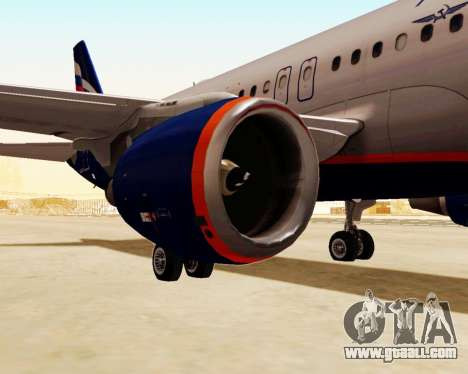 Airbus A320-200 Aeroflot for GTA San Andreas back left view