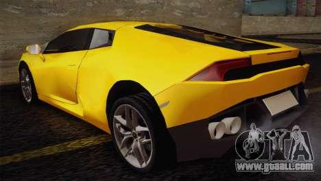 Lamborghini Huracane LP 610-4 V2.0 for GTA San Andreas back left view