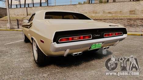 Dodge Challenger RT 1972 for GTA 4 back left view