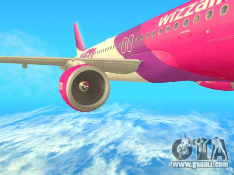 Airbus A320-200 WizzAir for GTA San Andreas back left view
