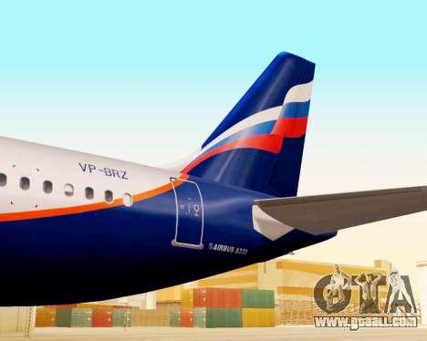 Airbus A320-200 Aeroflot for GTA San Andreas back view
