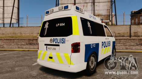 Volkswagen Transporter T5 TDI POLIISI [ELS] for GTA 4 back left view
