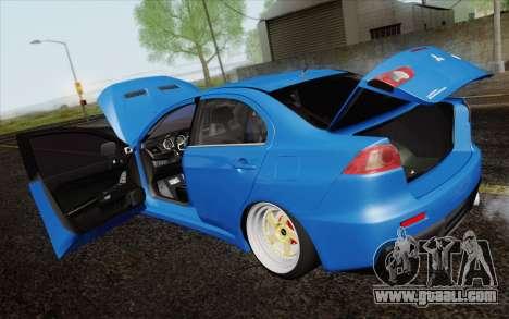 Mitsubishi Lancer Evo X GangLow for GTA San Andreas inner view