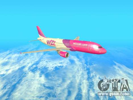 Airbus A320-200 WizzAir for GTA San Andreas side view