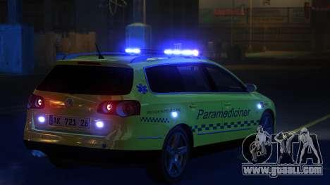 Volkswagen Passat Variant 2010 Paramedic [ELS] for GTA 4 back left view