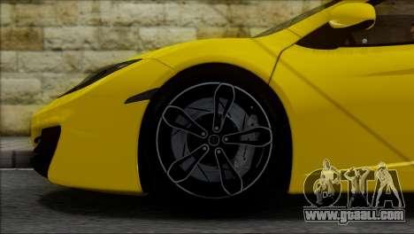 McLaren MP4-12C Spider for GTA San Andreas inner view