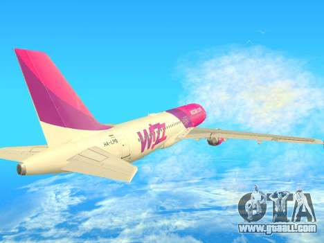 Airbus A320-200 WizzAir for GTA San Andreas back view