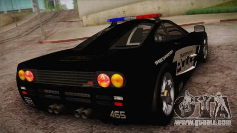 McLaren F1 Police Edition for GTA San Andreas back left view