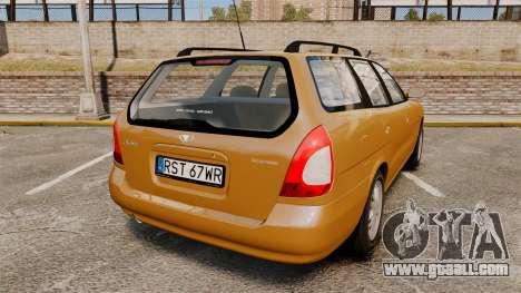 Daewoo Nubira I Wagon CDX PL 1998 for GTA 4 back left view