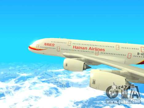 A380-800 Hainan Airlines for GTA San Andreas back left view