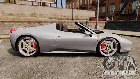 Ferrari 458 Spider for GTA 4 left view