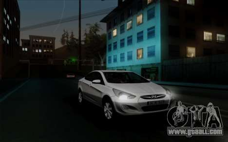 Hyundai Solaris for GTA San Andreas back view