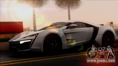 W Motors Lykan Hypersport 2013 for GTA San Andreas back left view