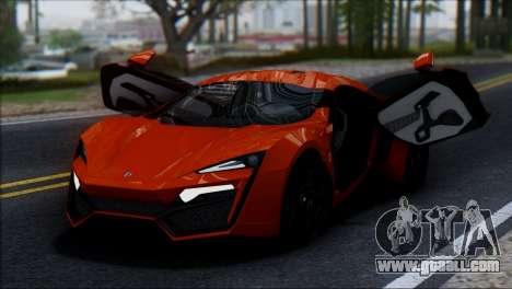 W Motors Lykan Hypersport 2013 for GTA San Andreas back view