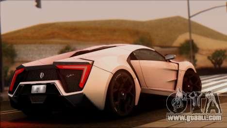 W Motors Lykan Hypersport 2013 for GTA San Andreas left view