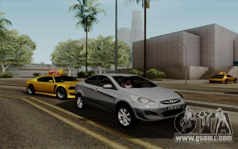Hyundai Solaris for GTA San Andreas back left view