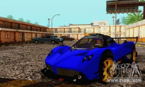 Pagani Zonda Type R Blue for GTA San Andreas inner view