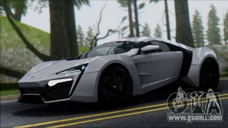 W Motors Lykan Hypersport 2013 for GTA San Andreas