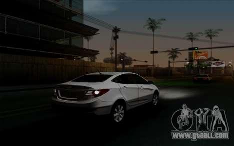 Hyundai Solaris for GTA San Andreas inner view