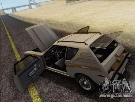 AMC Gremlin X 1973 for GTA San Andreas inner view
