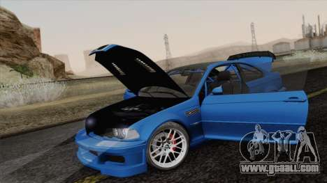 BMW M3 E46 GTR 2005 for GTA San Andreas upper view