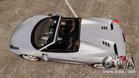 Ferrari 458 Spider for GTA 4 right view