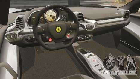 Ferrari 458 Spider for GTA 4 back view