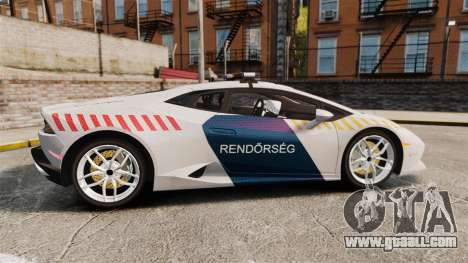 Lamborghini Huracan Hungarian Police [Non-ELS] for GTA 4 left view