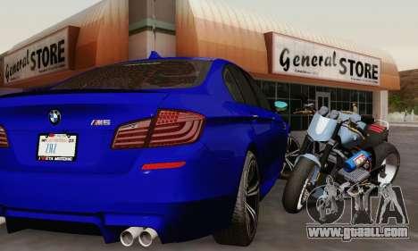BMW F10 M5 2012 Stock for GTA San Andreas interior