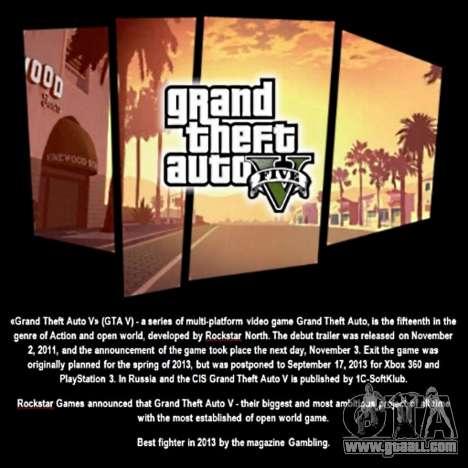 Boot screen GTA V for GTA San Andreas