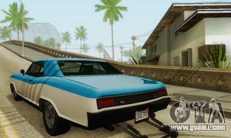 Gta 5 Buccaneer updated for GTA San Andreas back left view