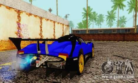 Pagani Zonda Type R Blue for GTA San Andreas back left view