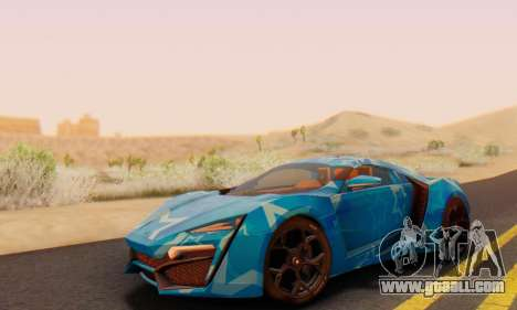 W-Motors Lykan Hypersport 2013 Blue Star for GTA San Andreas side view