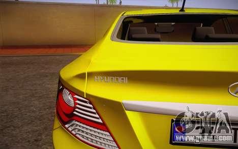 Hyundai Accent Taxi 2013 for GTA San Andreas back view