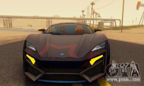 W-Motors Lykan Hypersport 2013 Blue Star for GTA San Andreas bottom view