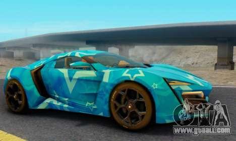 W-Motors Lykan Hypersport 2013 Blue Star for GTA San Andreas right view