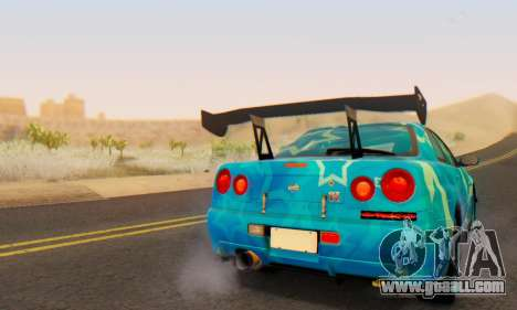 Nissan Skyline GTR 34 Blue Star for GTA San Andreas upper view