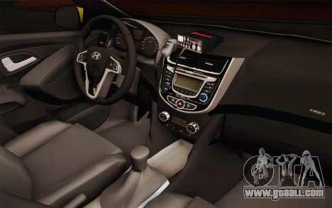 Hyundai Accent Taxi 2013 for GTA San Andreas inner view