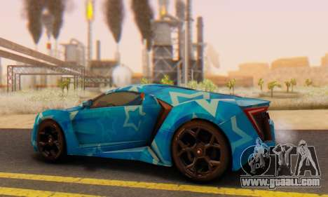 W-Motors Lykan Hypersport 2013 Blue Star for GTA San Andreas inner view