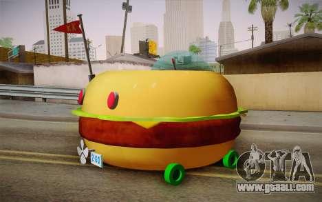 Spongebobs Burger Mobile for GTA San Andreas left view
