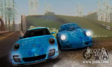 Porsche 911 Turbo Blue Star for GTA San Andreas right view