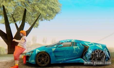 W-Motors Lykan Hypersport 2013 Blue Star for GTA San Andreas wheels