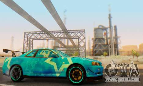Nissan Skyline GTR 34 Blue Star for GTA San Andreas side view