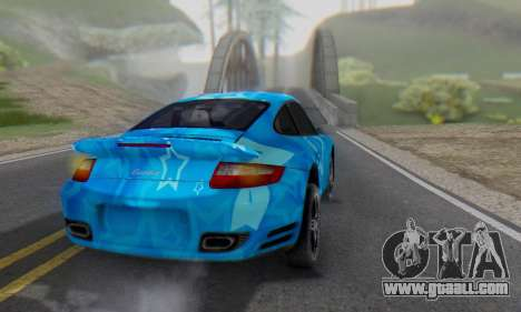 Porsche 911 Turbo Blue Star for GTA San Andreas back left view