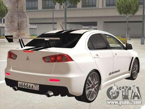 Mitsubishi Lancer Evolution X for GTA San Andreas interior