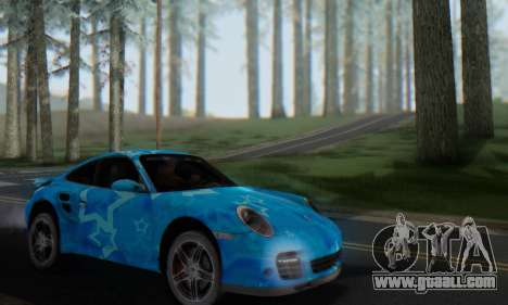 Porsche 911 Turbo Blue Star for GTA San Andreas inner view