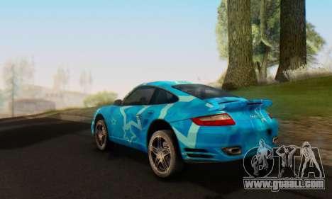 Porsche 911 Turbo Blue Star for GTA San Andreas back view
