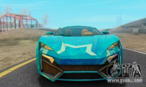 W-Motors Lykan Hypersport 2013 Blue Star for GTA San Andreas back left view